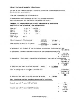 Calculation Of Short Circuit