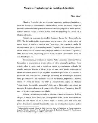 Maurício Tragtenberg - Um Sociólogo Libertário - Nildo Viana