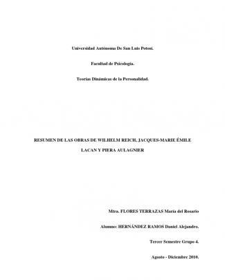 Resumen De Las Obras De Wilhelm Reich, Jacques-marie émile Lacan Y Piera Aulagnier