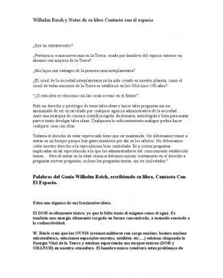 Wilhelm Reich Y Notas De Su Libro Contacto Con El Espacio