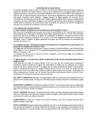 Breve Historia De Los Bautistas(2)