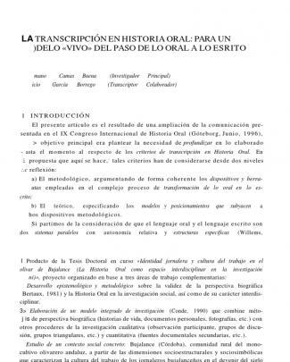Camas Baena, Victoriano. La Transcripción En Historia Oral. Historia Y Antropología Y Fuentes Orales 18.