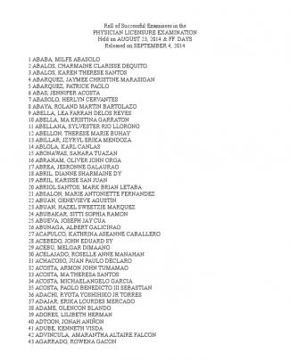 Physician Licensure Exam 2014 Results