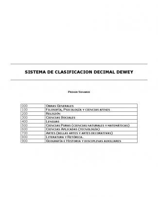 Sistema De Clasificacion Decimal Dewey
