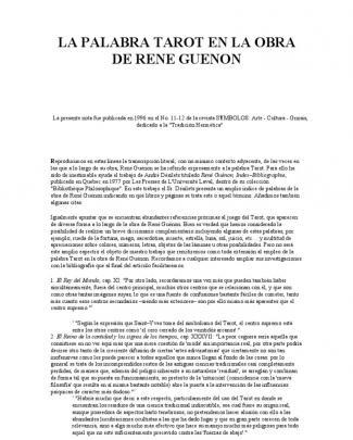 La Palabra Tarot En La Obra De Rene Guenon