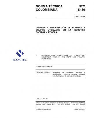 Ntc5480 Limpieza Y Desinfeccion En Industria Carnica Y Avicola