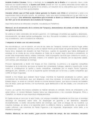 Andrés Avelino Cáceres Y Su última Entrevista