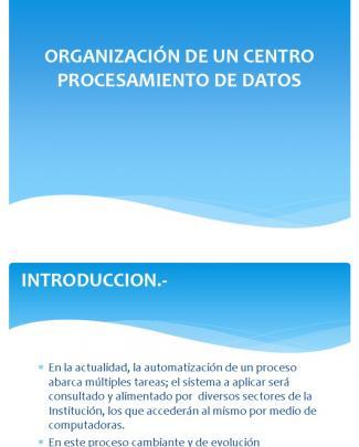 Organización De Un Centro Procesamiento De Datos