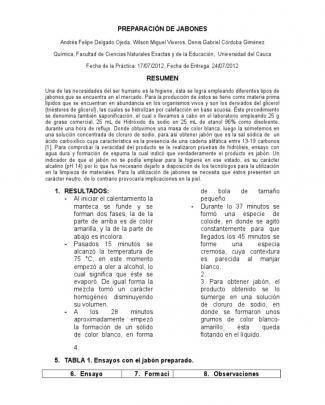 Preparación De Jabones (saponificacion)
