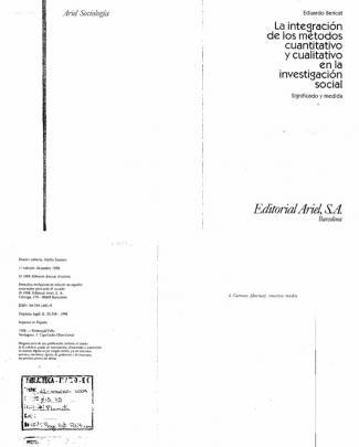Eduardo Bericat. La Integracion De Los Metodos