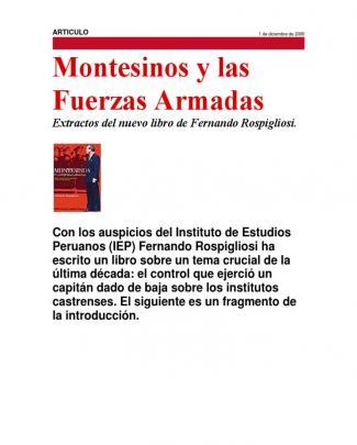 Montesinos Y Las Fuerzas Armadas. Por Fernando Rospigliosi