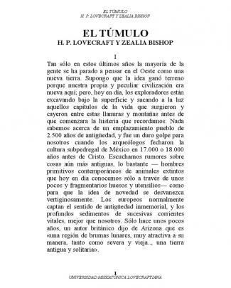 El Túmulo - H. P. Lovecraft