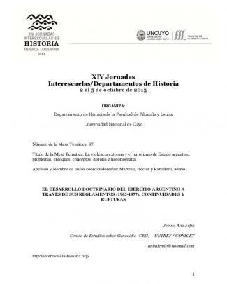 El Desarrollo Doctrinario Del Ejército Argentino A Través De Sus Reglamentos (1965-1977). Continuidades Y Rupturas
