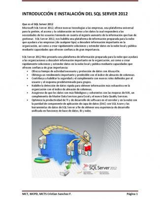 Introduccion E Instalacion Al Sql Server 2012
