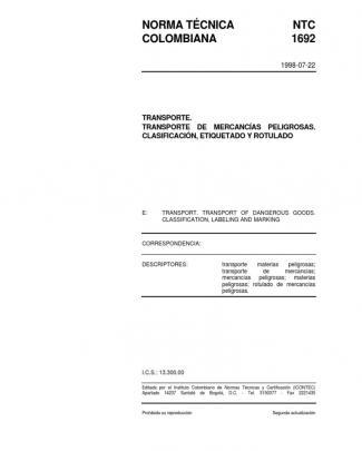 Ntc 1692 Transporte Clasificación Rotulado Etiquetado Respel